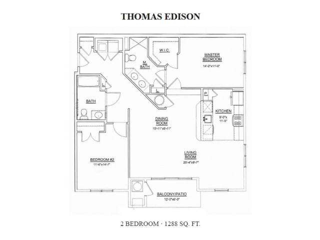 2 Bedroom Floor Plan | Apartments In Ewing NJ For Rent | Heritage Court