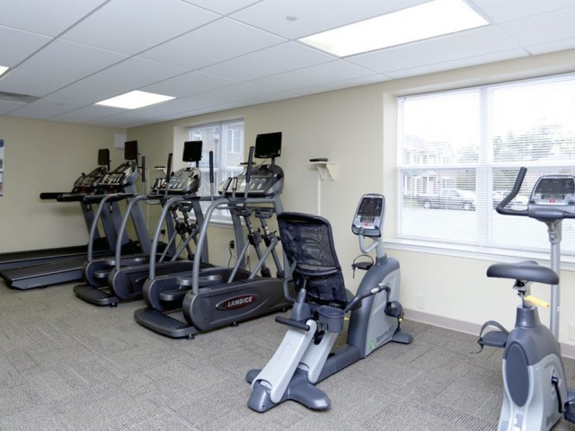 Stationary bikes, elliptical machines, and treadmills in the fitness gym at Heritage Court.