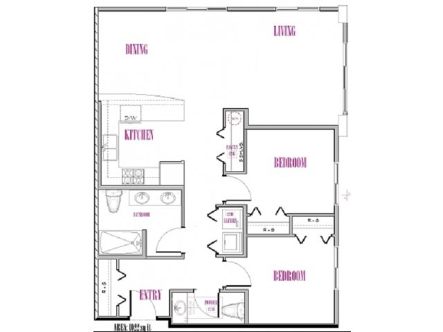Adams | 2 bed 2 bath | from 1022 square feet