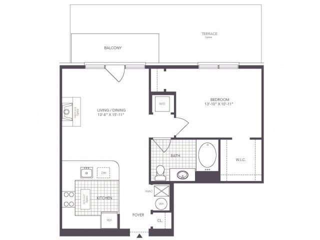 A | 1 bed 1 bath | from 695 square feet