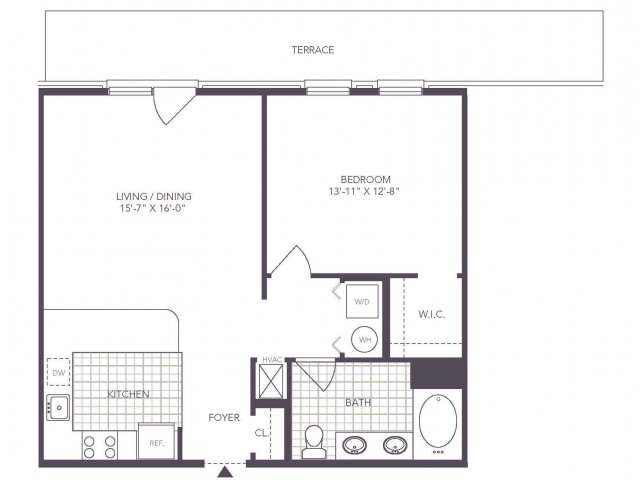 C | 1 bed 1 bath | from 768 square feet