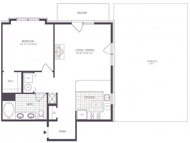D | 1 bed 1 bath | from 768 square feet