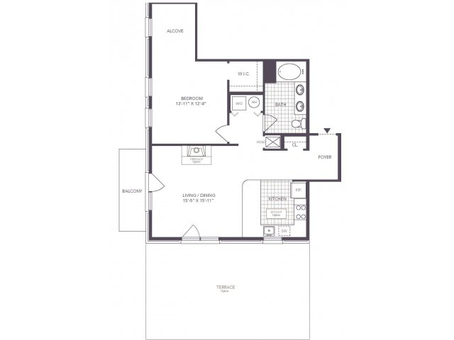 F | 1 bed 1 bath | from 768 square feet