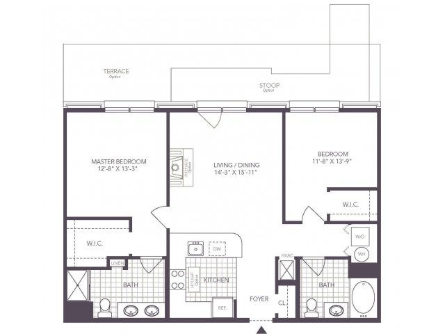 J | 2 bed 2 bath | from 1007 square feet