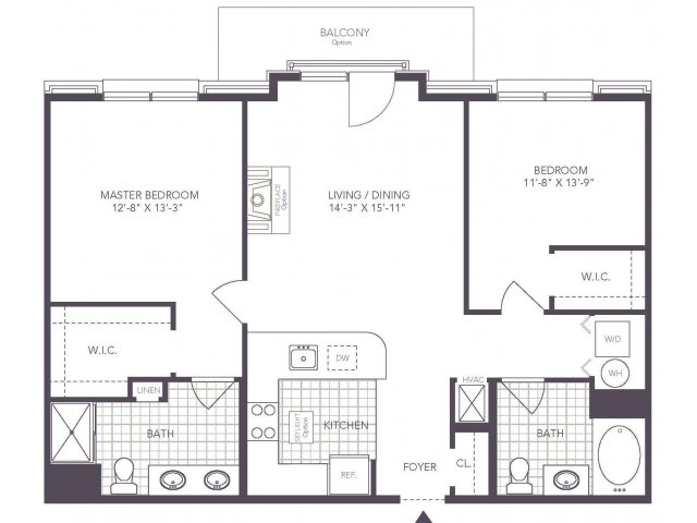 K | 2 bed 2 bath | from 1007 square feet