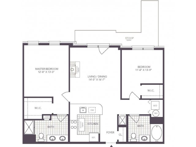 L | 2 bed 2 bath | from 1007 square feet