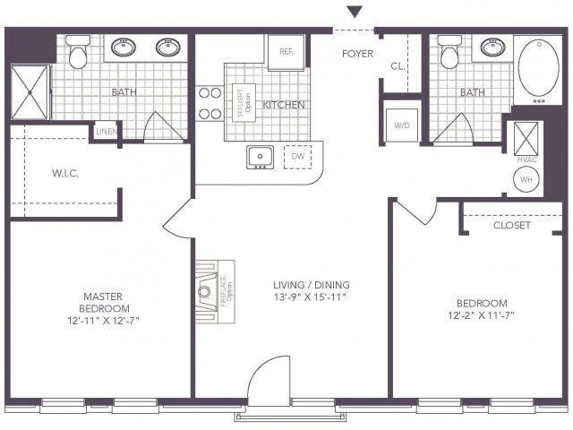 M | 2 bed 2 bath | from 1012 square feet