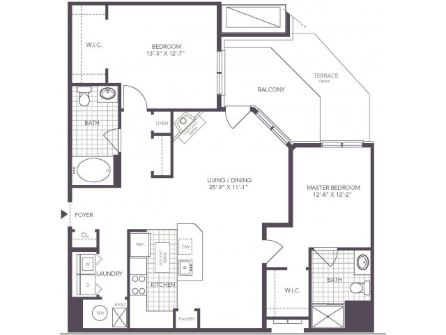 P | 2 bed 2 bath | from 1119 square feet