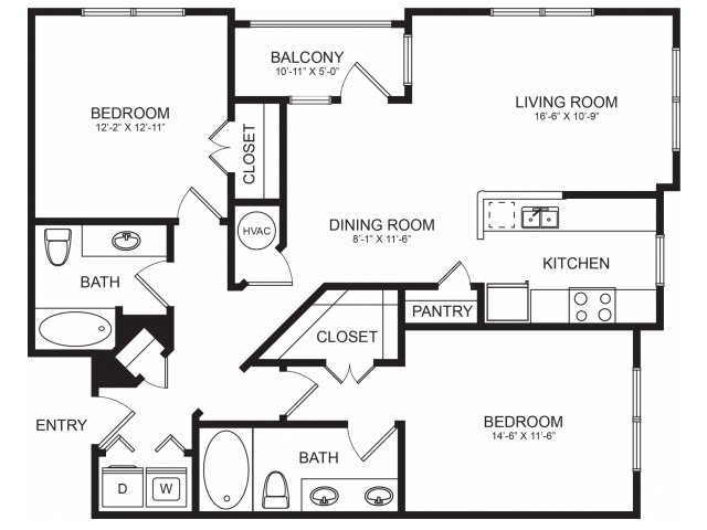 2 Bedroom Floorplans | Seventeen West