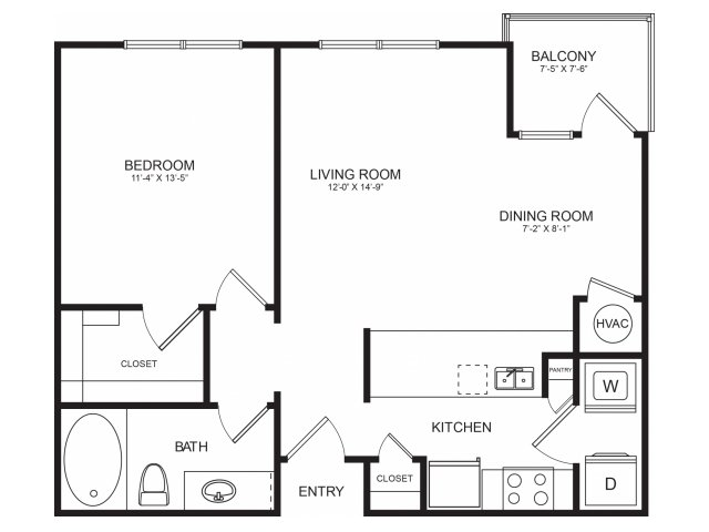 One Bedroom Floorplans | Seventeen West