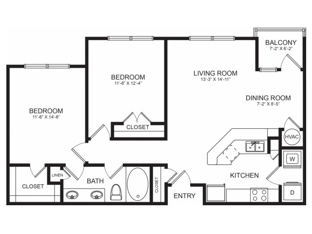 Two Bedroom Spacious Floorplans | Seventeen West