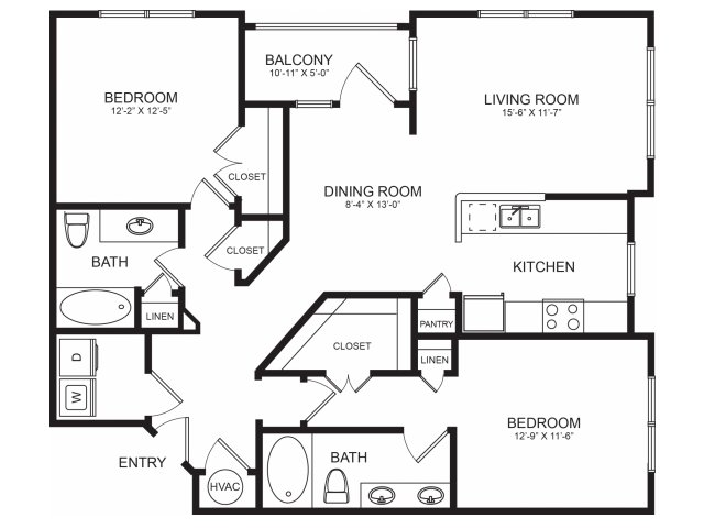 Two Bedroom Floorplans | Seventeen West