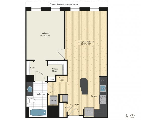 Floor Plan 1 | Luxury Apartments In Bethesda Maryland | Upstairs at Bethesda Row