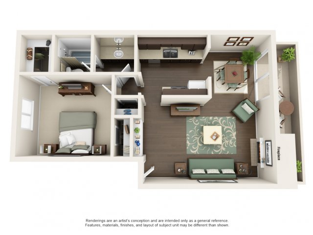A1 | 1 bed 1 bath | from 716 square feet