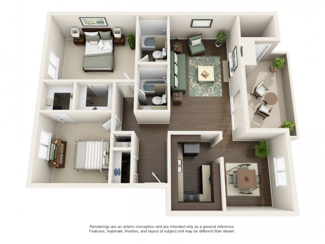 B5 | 2 bed 2 bath | from 1068 square feet