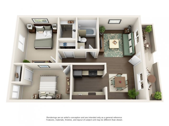 B1 | 2 bed 1 bath | from 787 square feet