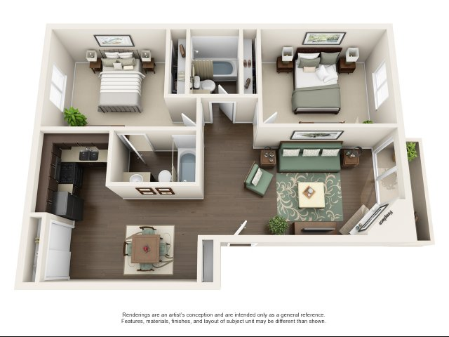 B4-1 | 2 bed 2 bath | from 1000 square feet