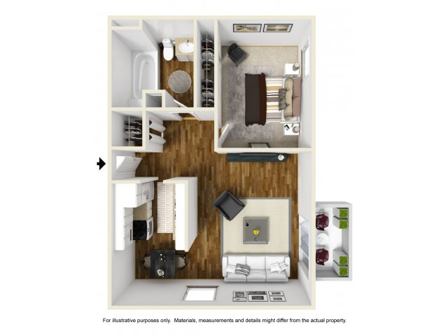 A1 1x1 | 1 bed 1 bath | from 550 square feet