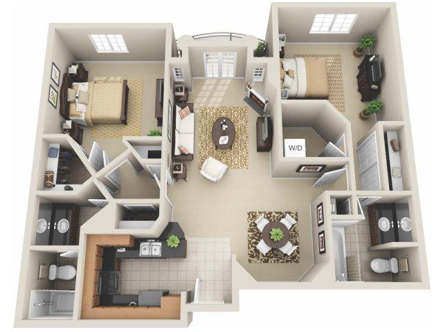 Two Bedroom Floor Plan 2 | Apartments In Los Angeles | The Preston Miracle Mile