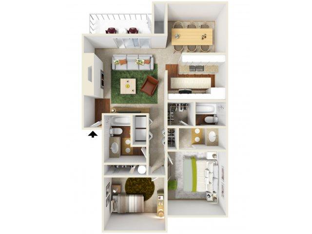 Two Bedroom Floorplan | Landmark 2