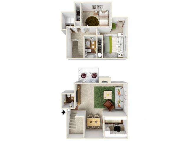 Two Bedroom Floorplan | Landmark 4