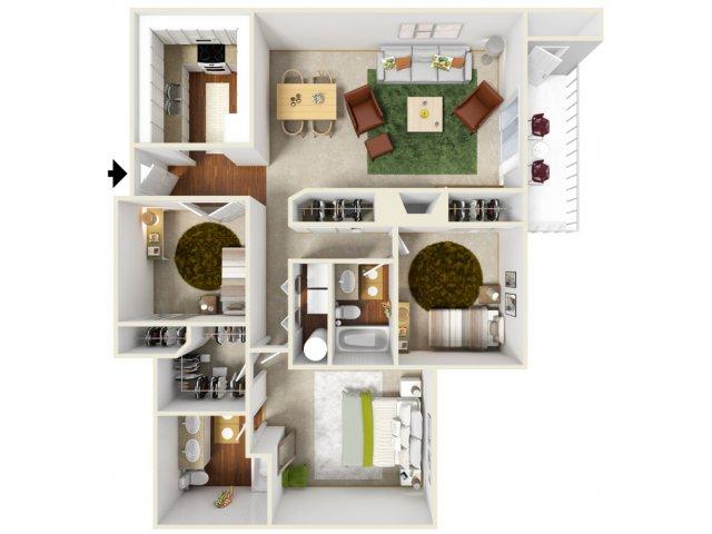 Two Bedroom Floorplan | Landmark 7