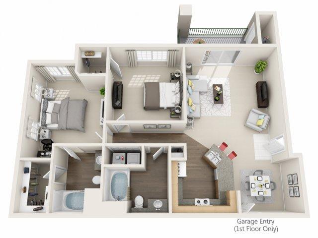 Two Bedroom Floorplan | Champions at Nor\'wood 1