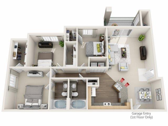 Three Bedroom Floorplan | Champions at Nor\'wood 1