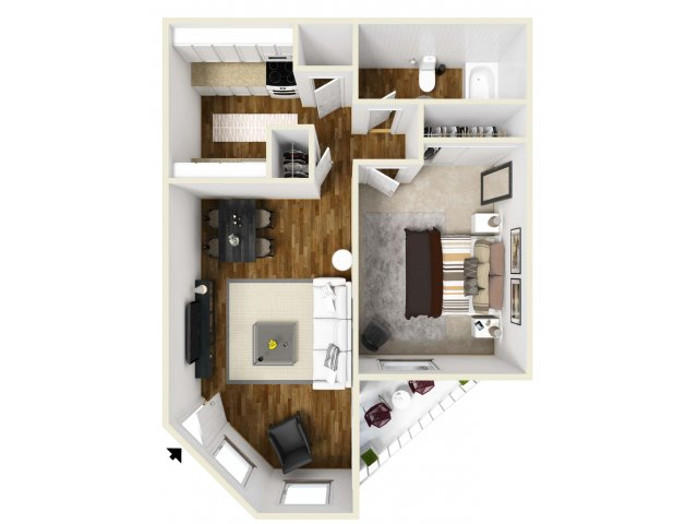 1 Bedroom Floor Plan | Village Creek 2