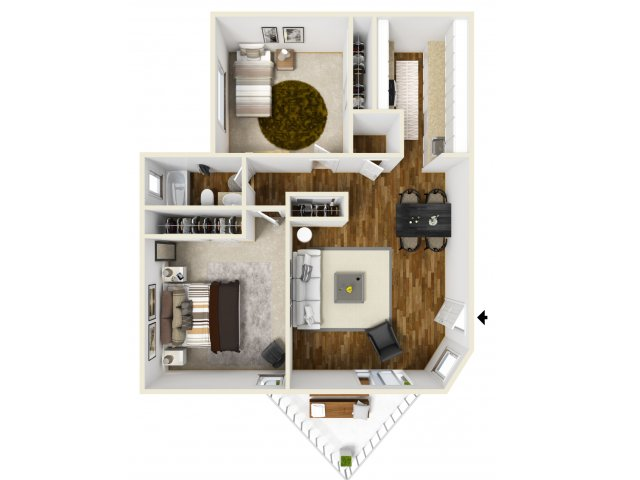 2 Bedroom Floor Plan | Village Creek 2