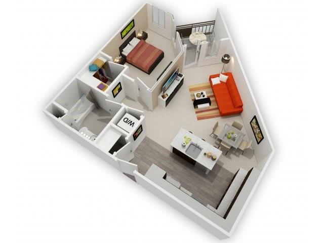 One Bedroom Floorplan | 121 Tasman 1