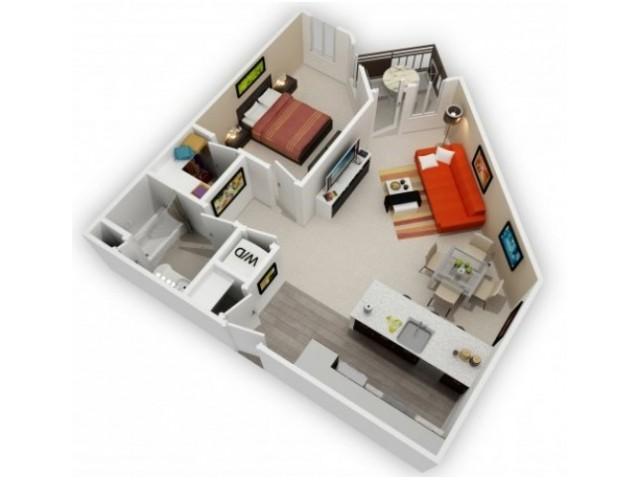 One Bedroom Floorplan | 121 Tasman 2