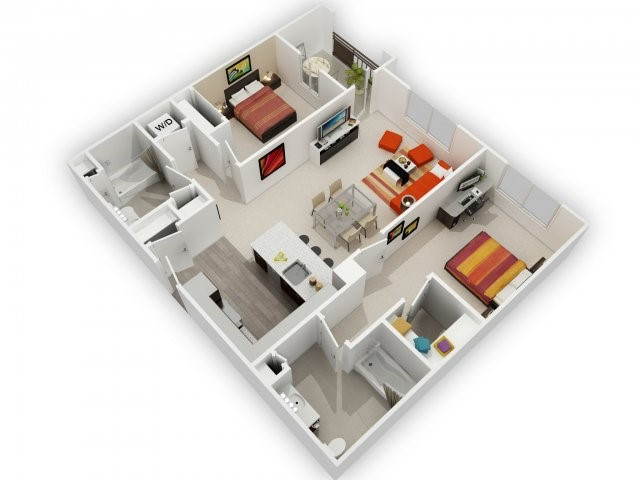 Two Bedroom Floorplan | 121 Tasman
