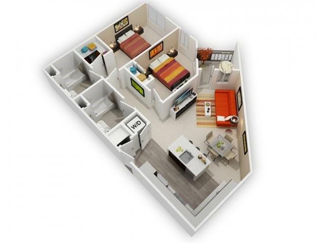 Two Bedroom Floorplan | 121 Tasman 1