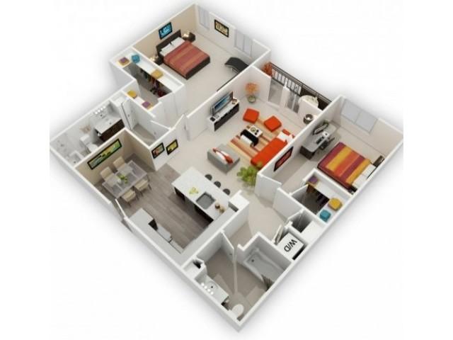 Two Bedroom Floorplan | 121 Tasman 5