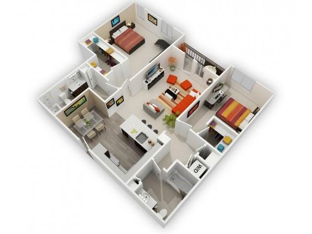 Two Bedroom Floorplan | 121 Tasman 8