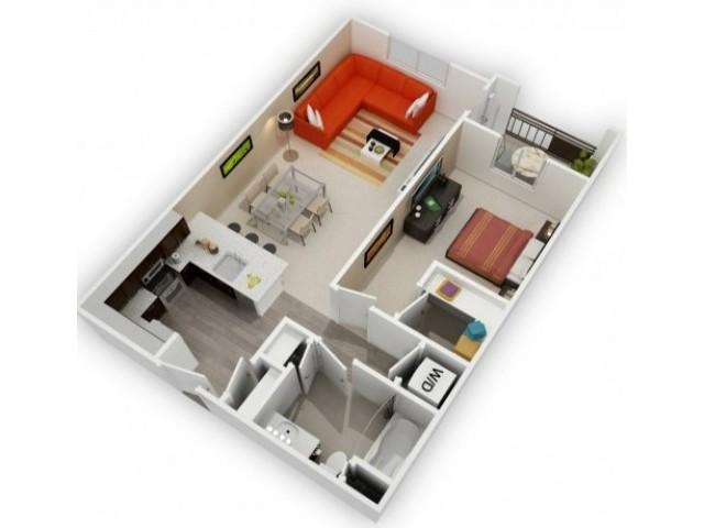 One Bedroom Floorplan | 121 Tasman 4