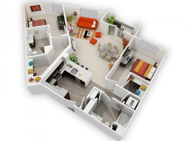 Two Bedroom Floorplan | 121 Tasman 7