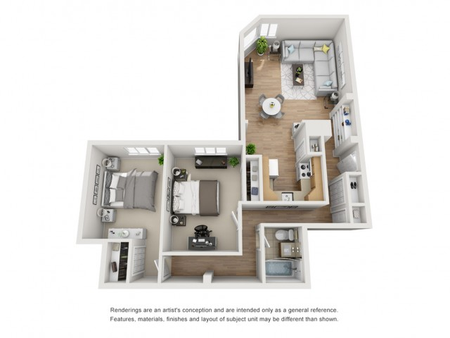 2X1 | 2 bed 1 bath | from 886 square feet