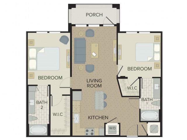 2 Bedroom Floor Plan | Apartments Port Orange FL | Sanctuary at West Port