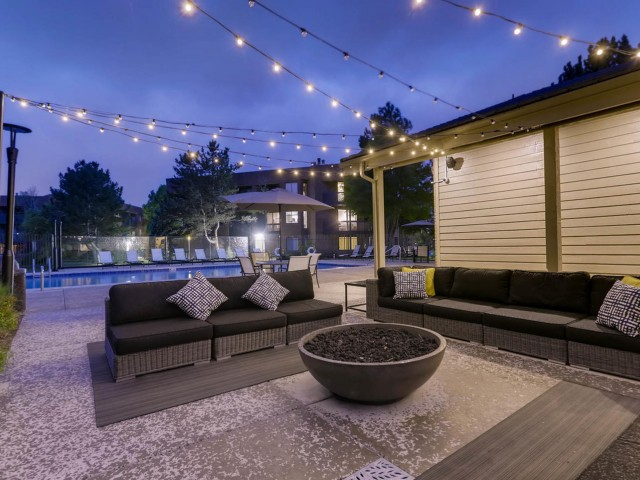 Image of Shimmering Pool with BBQ Area and Fire Pit for Alta Springs Apartments