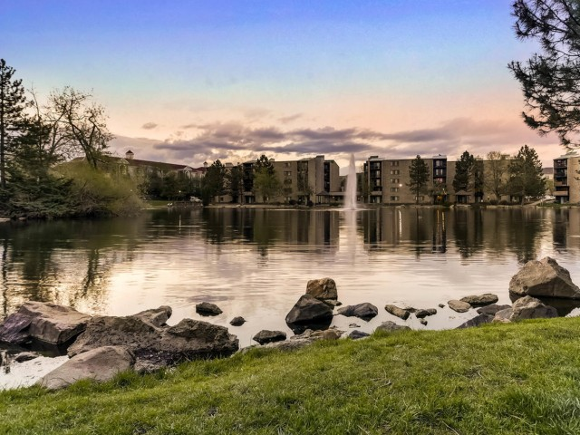 Image of Onsite Lake, Fishing and Walking Trails for Lakeview Towers at Belmar Apartments