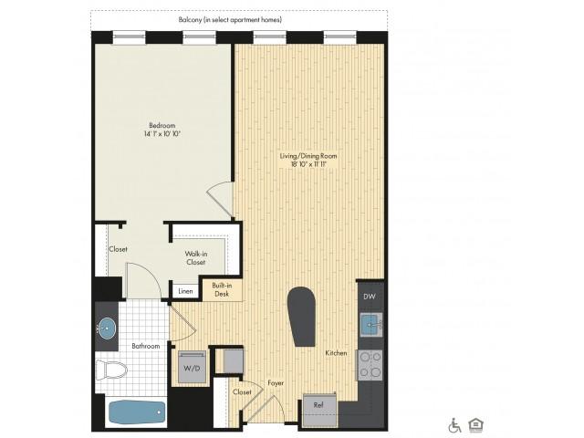 Floor Plan 14   Bethesda Luxury Apartments   Upstairs at Bethesda Row