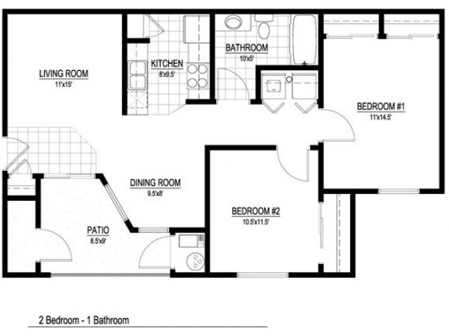 Floor Plan 2 | 2 Bedroom Apartments Salt Lake City | Park Vue