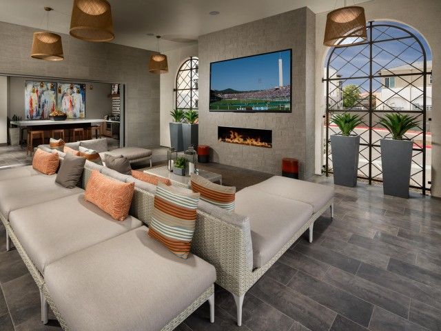 Image of California Room with Outdoor Seating and Fireplace for Solaire