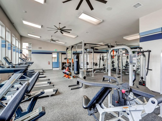 Image of Fitness Center for Lakeview Towers at Belmar Apartments