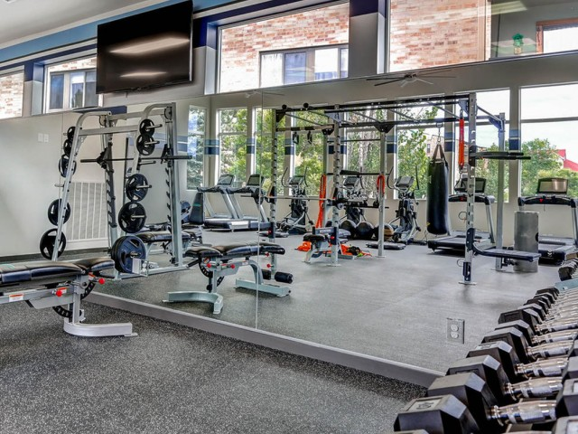 Image of Free Weights Available for Lakeview Towers at Belmar Apartments