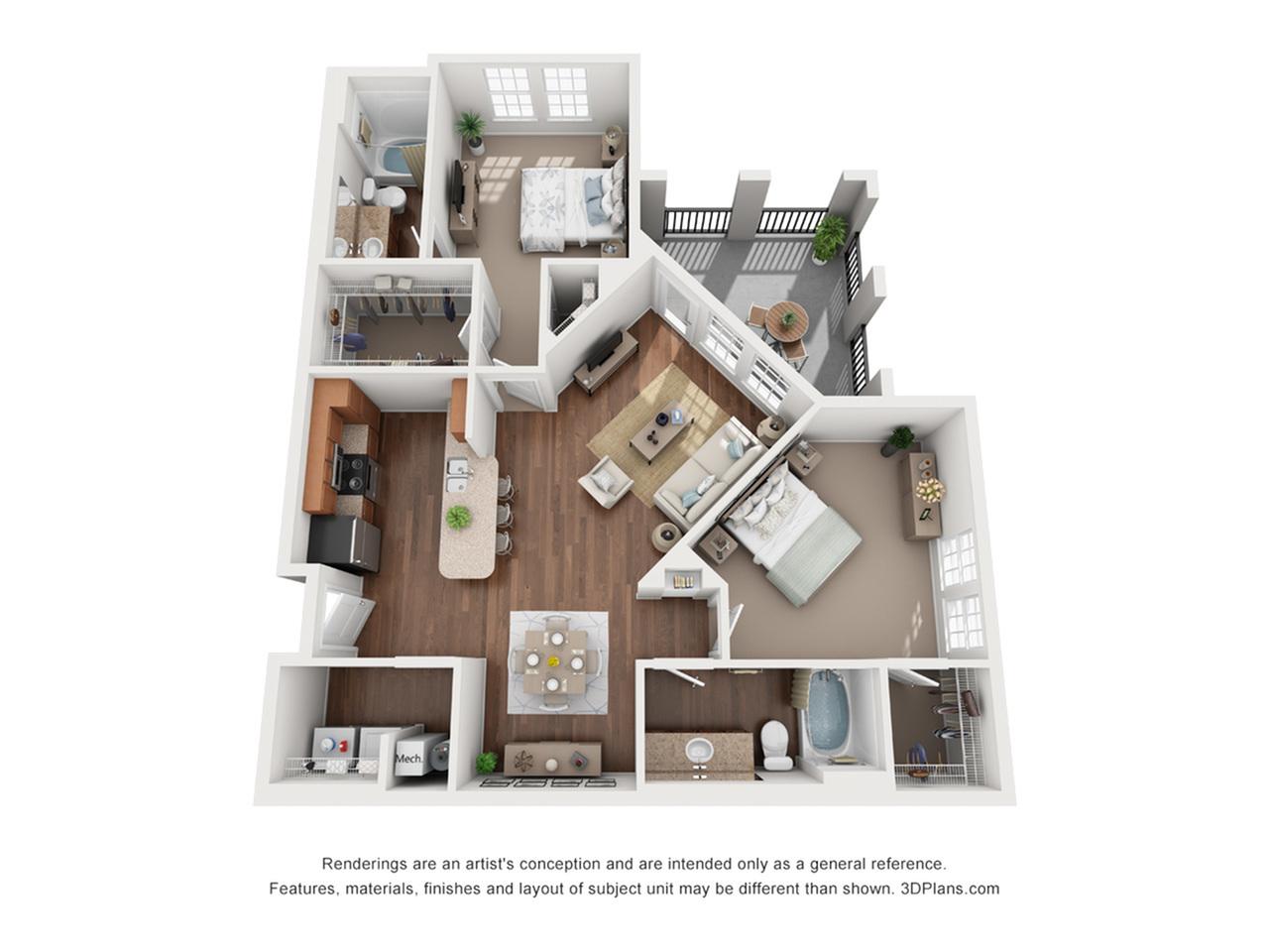 2 Bedrooms Floorplan 3 | The Vineyards at Hammock Ridge