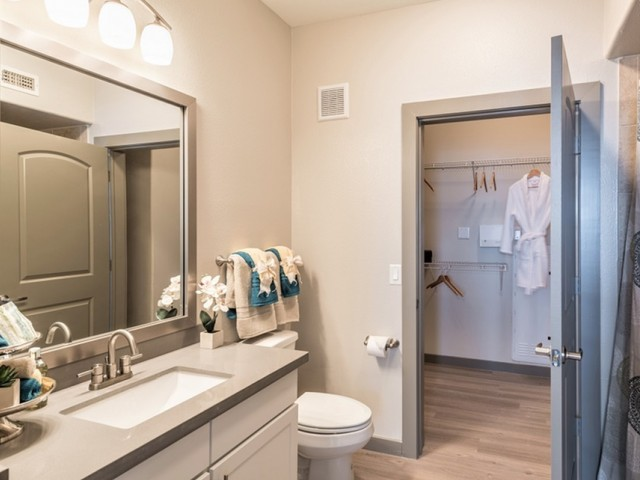 Image of Elegant bathrooms featuring framed mirrors* for Deseo at Grand Mission
