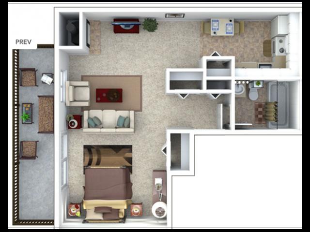 1 Bedroom Floor Plan | The Lodge at Aspen Grove